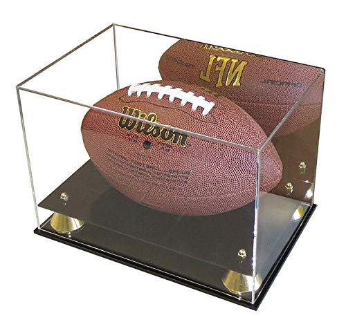 DisplayGifts Deluxe UV Acrylic Full Size Football Display Case Stand with Mirror, Riser Stand, ACFB18M