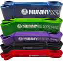 Image of MummyStrength Resistance Bands for Men and Women. The Best Stretch Band for Pull Up Exercise and Powerlifting. Works with Any Pull Up Bar or Station. Single Band. Workout Guide Included - Green