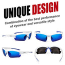 Image of Duduma Polarized Designer Fashion Sports Sunglasses for Baseball Cycling Fishing Golf Tr62 Superlight Frame (White/Blue)