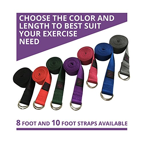 Clever Yoga 8-Foot Yoga Strap Made with The Best, Durable Cotton - Comes with Our Special Namaste (Dark Gray)