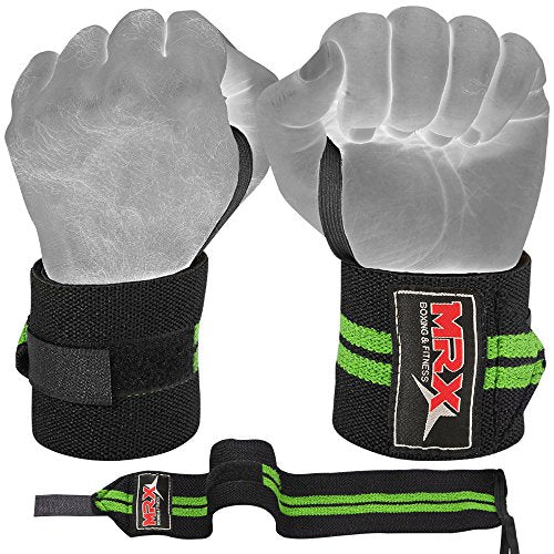 MRX Weight Lifting Gym Training Wrist Wraps for Wrist Support Bodybuilding Workout Crossfit Wrap Men/Women (Black/Green)