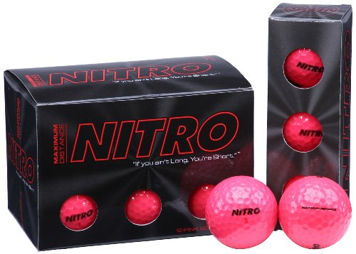 Long Distance Golf Balls (12PK) All Levels-Nitro Maximum Distance Titanium Core 85 Compression High Velocity Spin Control Long Distance Golf Balls USGA Approved-Total of 12-Hot Pink