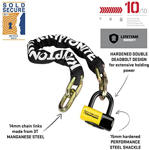 Kryptonite New York Fahgettaboudit 1410 Chain and New York Disc Bike Lock, 14mm x 39""