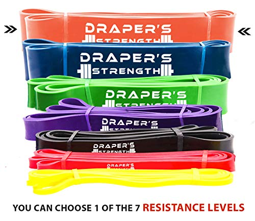 Draper's Strength Heavy Duty Pull Up Assist and Powerlifting Stretch Bands (Single Band or Set) 41-inch #7 Orange (70-175 lbs) 3-1/4