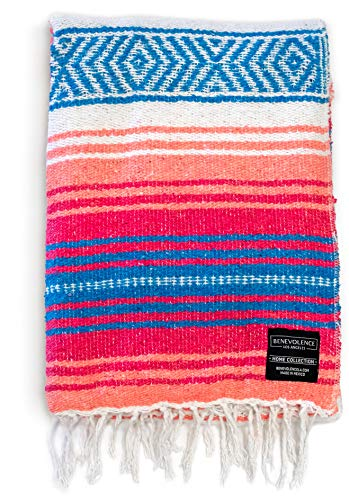 Mexican Blanket, Falsa Blanket | Authentic Hand Woven Blanket, Serape, Yoga Blanket | Perfect Beach