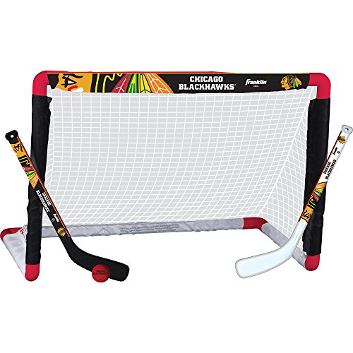 Franklin Sports Chicago Blackhawks Mini Hockey Set   Knee Hockey Goal, Ball, & 2 Hockey Stick Combo
