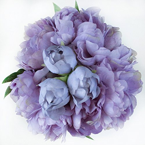 Lavender Silk Peonies Bouquet - Wedding Party Flowers Arrangements Gift