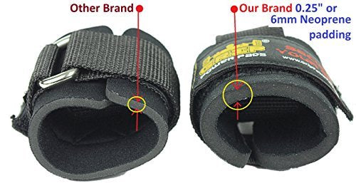 Best Heavy Duty Lifting Straps Neoprene Padded 1 Pair Wrist Wraps & Rubbery Grip Support