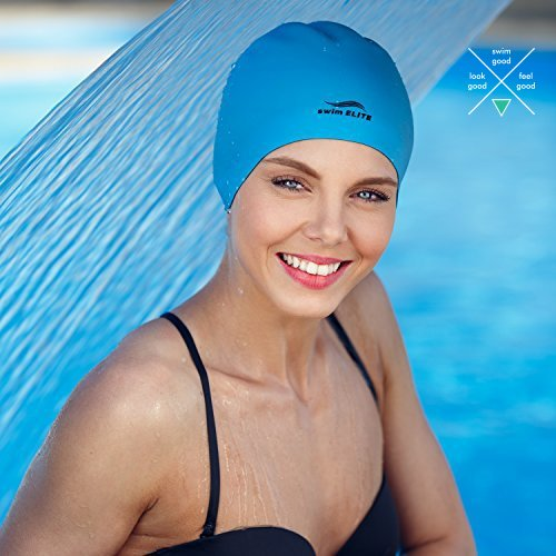 2-in-1 Premium Silicone Swim Cap - Reversible - Wear It On Both Sides - Wrinkle-Free Swimming Cap for Men and Women - Best for Short and Medium Lengh Hair (Blue/Black)