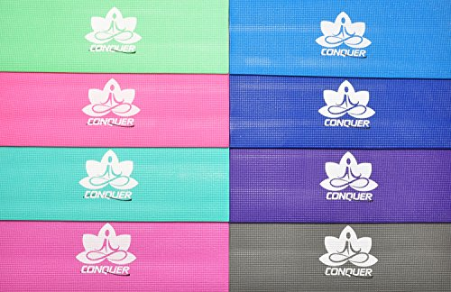 "Conquer 1/4"" Deluxe Yoga Mat Non-Slip High Density PVC, Vibrant Colors"