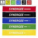 Image of Synergee Mini Band Resistance Band Loop Exercise Bands Set of 5 with Carrying Bag and Exercise Manual