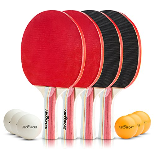 Table Tennis Ping Pong Set - Pack of 4 Premium Paddles/Rackets and 6 Table Tennis Balls - Soft Sponge Rubber - Ideal for Professional & Recreational Games - 2 or 4 Players - Perfect Set On The Go