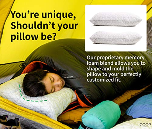 Coop Home Goods   Adjustable Travel And Camping Pillow   Hypoallergenic Shredded Memory Foam Fill