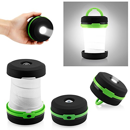 Oct17 Camping Portable LED Light Foldable Collapsible Lantern Flashlight Outdoor Lamp Hiking Lantern - Green