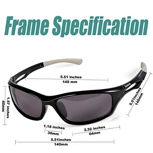Duduma Polarized Sports Sunglasses for Running Cycling Fishing Golf Tr90 Unbreakable Frame (Black/Black)