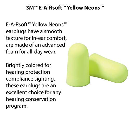 3 M Personal Protective Equipment Ear Plugs, E A Rsoft Yellow Neons 312 1250, Foam, Uncorded, Disposa