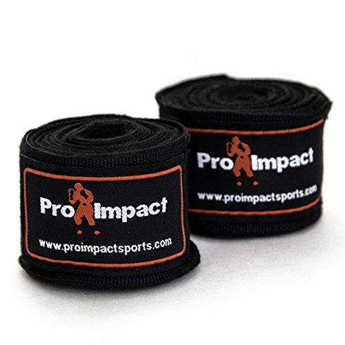 "Pro Impact Mexican Style Boxing Handwraps 180"" with Closure - Elastic Hand & Wrist Support for Muay Thai Kickboxing Training Gym Workout or MMA for Men & Women - 1 Pair (Black)"