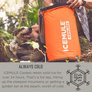 Image of ICEMULE Classic Insulated Backpack Cooler Bag - Hands-Free, Collapsible, and Waterproof, This Portable Cooler is an Ideal Sling Backpack for Hiking, The Beach, Picnics and Camping-Medium, Blaze Orange
