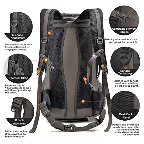 Mountaintop 40L Hiking Backpack for Outdoor Camping