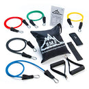 Image of Black Mountain Products Resistance Band Set with Door Anchor, Ankle Strap, Exercise Chart, and Carrying Case