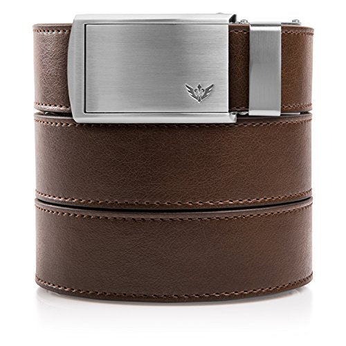 SlideBelts Men's Golf Ratchet Belt - Custom Fit - Mocha Brown with Winged Silver Buckle (Vegan)