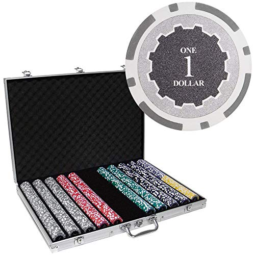 Brybelly 1,000 Ct Eclipse Poker Set - 14g Clay Composite Chips with Aluminum Case, Playing Cards, Dealer Button