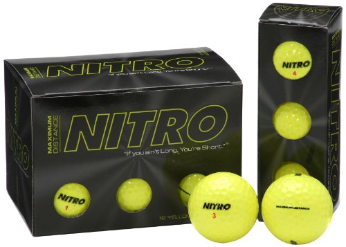 Long Distance Golf Balls (12PK) All Levels-Nitro Maximum Distance Titanium Core 85 Compression High Velocity Spin Control Long Distance Golf Balls USGA Approved-Total of 12-Yellow