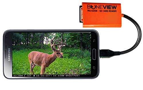 BoneView SD Card Reader for Android - Smartphone Trail Camera Viewer Plays Deer Hunting Game Cam Photo & Video Memory Chips on Smartphone, Connects via Micro-USB, or Free Type-C OTG Adapter Included