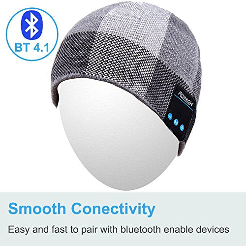 Qshell Bluetooth Hat, Winter Washable Music Beanie Soft Warm Knitted Trendy Short Skully Cap w/Wireless Headphone Headset Earphone Mic Hands Free for Excrise Gym Sports Fitness Running Skiing - Black
