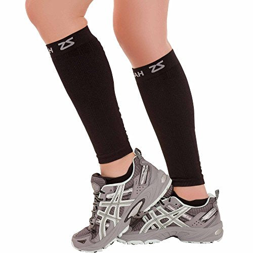 Zensah  Compression Leg Sleeves, Black, X-Small/Small