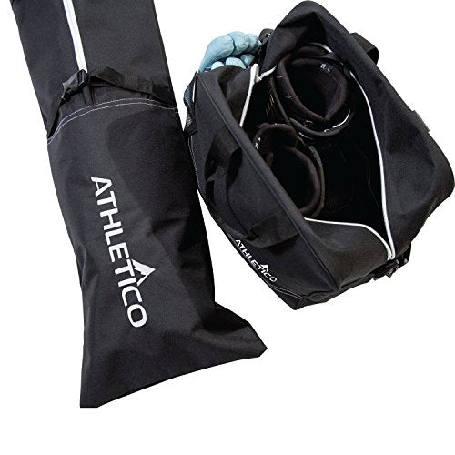 Athletico Two-Piece Ski and Boot Bag Combo | Store & Transport Skis Up to 200 cm and Boots Up to Size 13 | Includes 1 Ski Bag & 1 Ski Boot Bag (Black) (Black with White Trim)