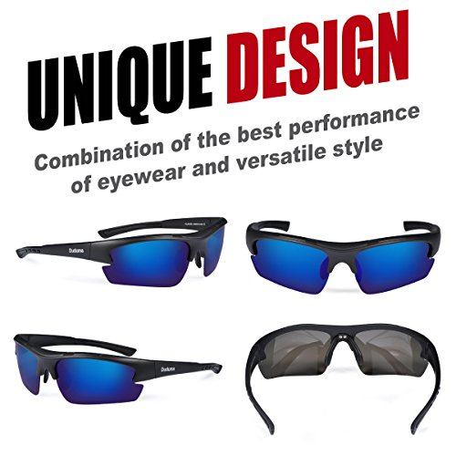 Duduma Polarized Designer Fashion Sports Sunglasses for Baseball Cycling Fishing Golf Tr62 Superlight Frame (Black Matte Frame with Blue Lens)
