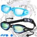 Image of COOLOO Swim Goggles, Pack of 2, Swimming Goggles for Adult Men Women Youth Kids Child, Triathlon Equipment, with Mirrored & Clear Anti-Fog, Waterproof, UV 400 Protection Lenses, Made
