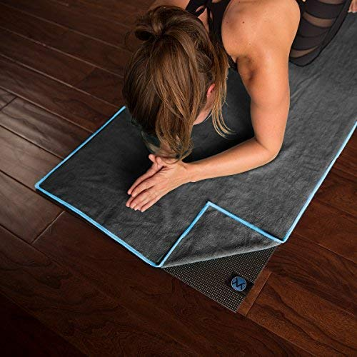 "Yoga Towel 24"" x 72"" by Youphoria Yoga (Gray Towel / Blue Stitching) - Ultra Absorbent, Machine Washable Microfiber, Yoga Mat Length Towels"