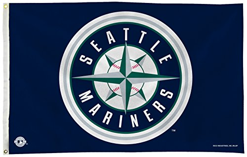 Rico Industries Fgb4903 Mlb Seattle Mariners 3 Foot By 5 Foot Banner Flag
