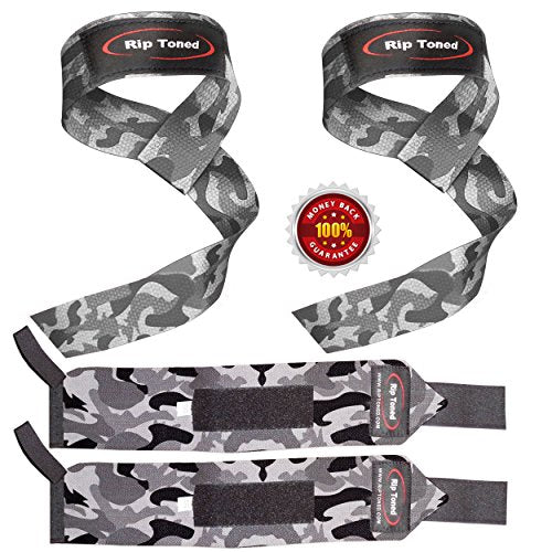 Rip Toned Lifting Straps + Wrist Wraps Bundle (1 Pair of Each) by Bonus Ebook for Weightlifting, Xfit, Workout, Gym, Powerlifting, Bodybuilding - Lifetime Replacement Warranty! (Gray Camo)