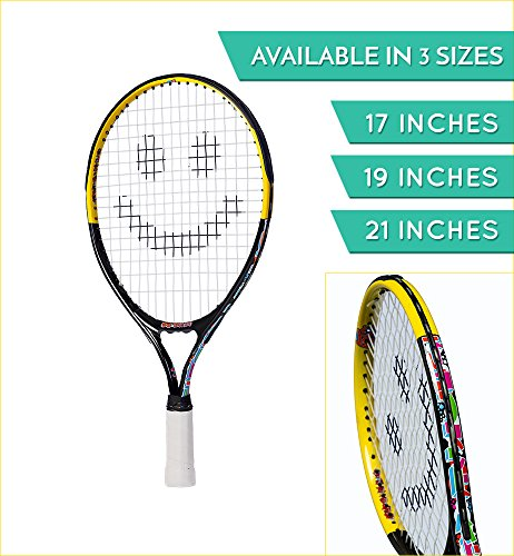 Street Tennis Club Tennis Rackets for Kids, 17-Inch, Black/Yellow
