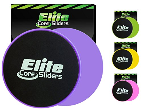 Elite Sportz Exercise Sliders are Double Sided and Work Smoothly on Any Surface. Wide Variety of Low Impact Exercise's You Can Do. Full Body Workout, Compact for Travel or Home - Purple