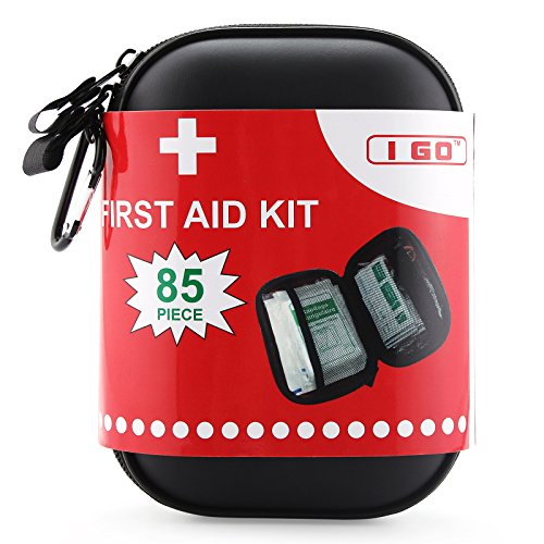 I Go 85 Pieces Hard Shell Mini Compact First Aid Kit, Small Personal Emergency Survival Kit For Trav