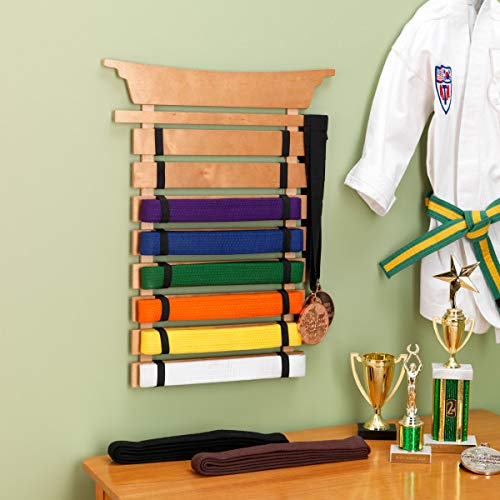 KidKraft Martial Arts Wooden Belt Holder Hanging Display for 8 Belts  (Unpersonalized)