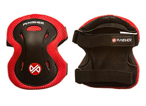 Punisher Skateboards Boys Elbow, Knee, and Wrist Pad Set for Skateboarding or BMX, Youth Ages 8+, Red