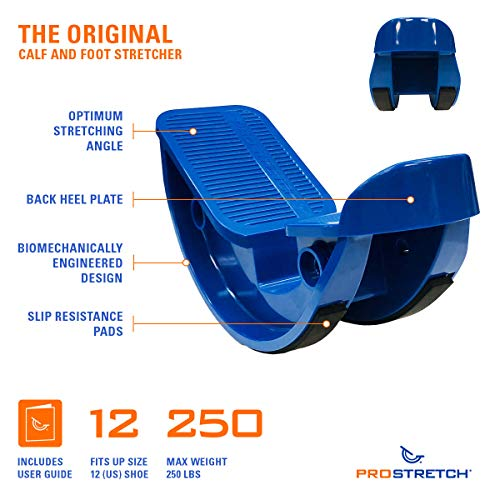 "ProStretch ""Blue"" - The Original Calf Stretcher & Foot Rocker for Plantar Fasciitis, Achilles Tendonitis & Tight Calf Pain (Slip Resistant Bottom)"