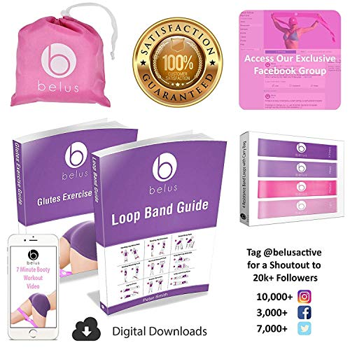 Belus Resistance Bands with Carry Bag, Video Download and eBook. Set of Four Resistance Loop Bands for Exercise and Fitness - Resistance Bands for Legs and Butt - Booty Bands - Pink and Purple
