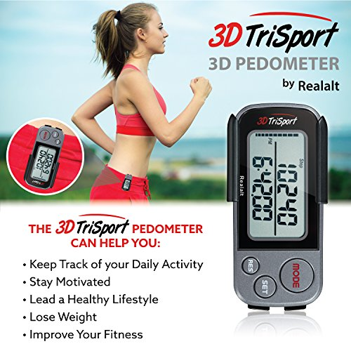 3DTriSport Walking 3D Pedometer with Clip and Strap, Free eBook | 30 Days Memory, Accurate Step Counter, Walking Distance Miles/Km, Calorie Counter, Daily Target Monitor, Exercise Time (Grey/Black)