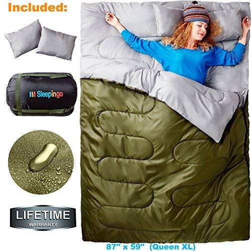 Sleepingo Double Sleeping Bag For Backpacking, Camping, Or Hiking, Queen Size Xl! Cold Weather 2 Per