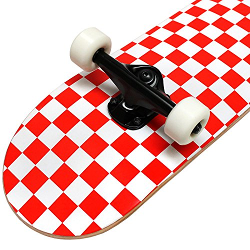 KPC Pro Skateboard Complete, Red and White Checker
