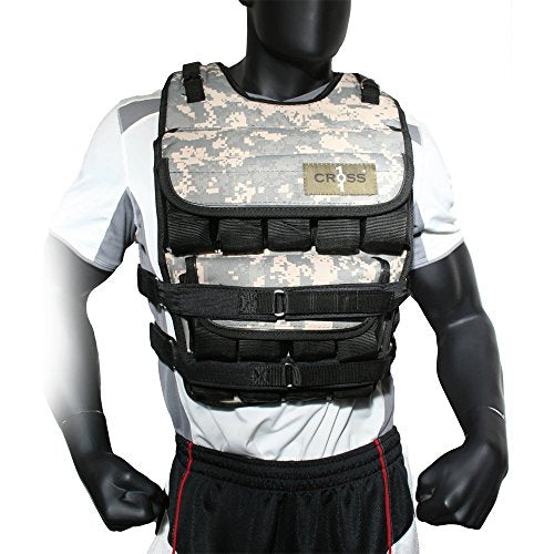 CROSS101 Adjustable Camouflage Weighted Vest Without Shoulder Pads, 20 lb