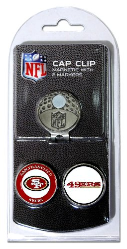 Team Golf NFL San Francisco 49ers Golf Cap Clip with 2 Removable Double-Sided Enamel Magnetic Ball Markers, Attaches Easily to Hats