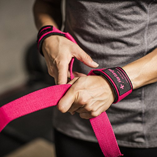 Harbinger 21307 Padded Cotton Lifting Straps with NeoTek Cushioned Wrist (Pair), Pink