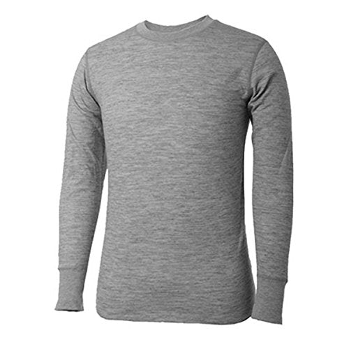 Terramar 2 Layer Mid Weight Merino Wool Long Sleeve Tops, Gray, Small/(34